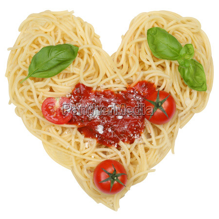 spaghetti noodles pasta isolated as heart