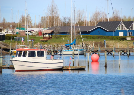 red marker ball in harbour with