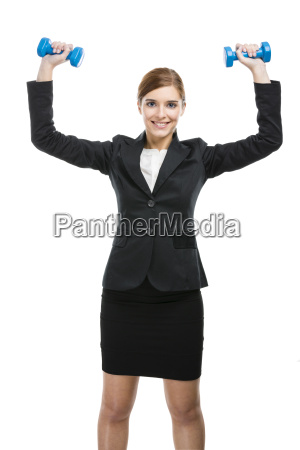 business woman holding a blue arrow