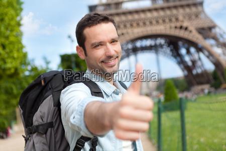 young attractive traveler in paris
