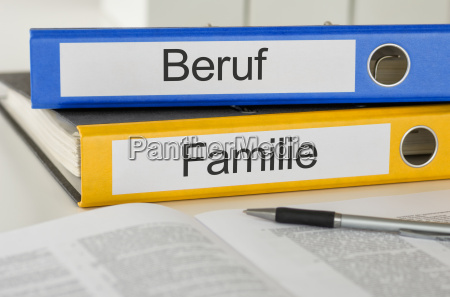 file folders labeled career and family