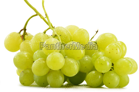 bunch of fresh white grapes isolated