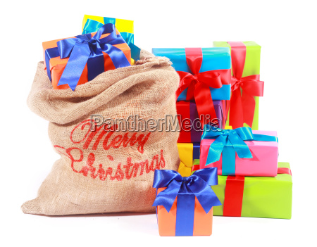 colorful xmas background with santas gift