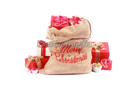 red and white themed santa gift