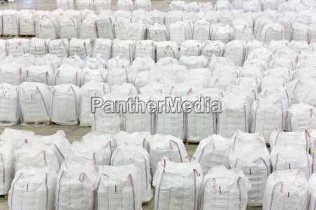 large bags of recycled plastic pellets