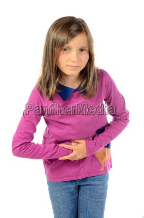 a girl has stomach ache