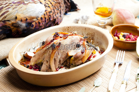 baked pheasant with bacon pear raisins