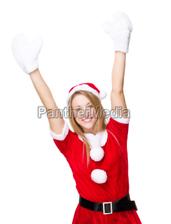 thrill woman with xmas dress and