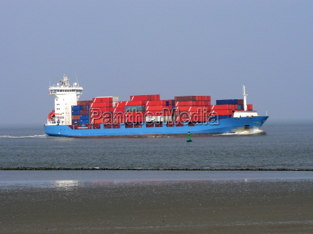 container ship on approach to cuxhaven