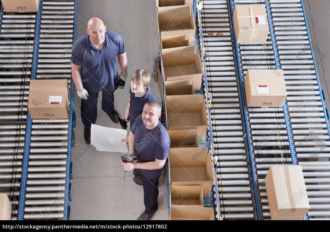 portrait, of, workers, packing, boxes, on - 12917802