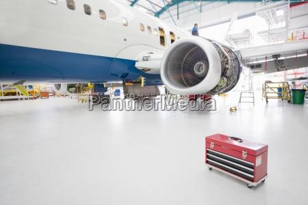 tool box near passenger jet in