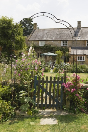 gate outside beautiful cottage garden