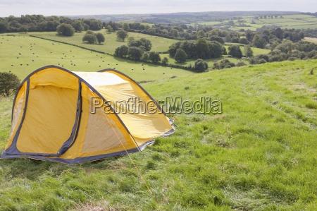 tent in rural field