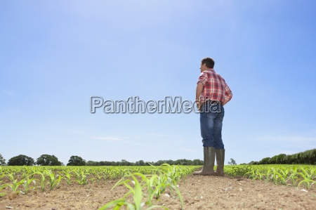 farmer with hands on hips in