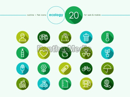 green environment flat icons set