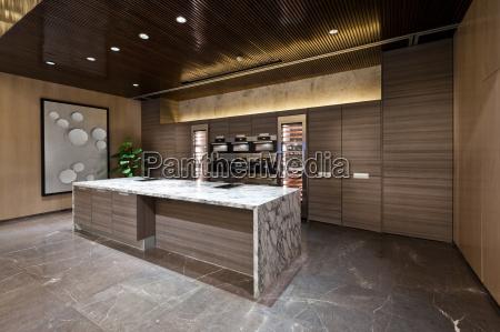 kitchen area with marble floor