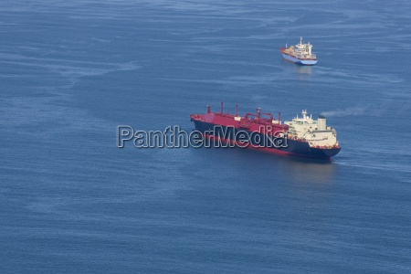 aerial view of natural gas cargo