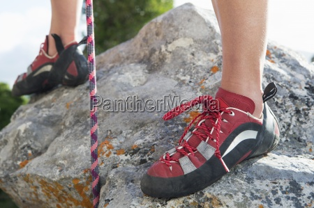 close up of female rock climbers
