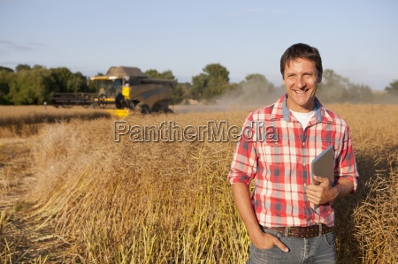 farmer checking harvest of rapeseed crop