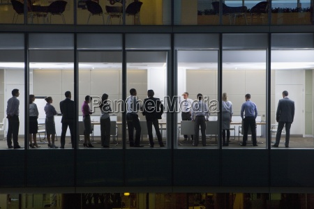 view of business people standing in