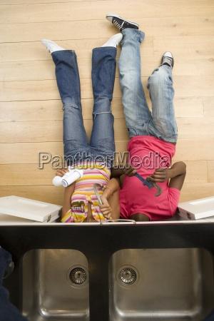 overhead view of couple lying on