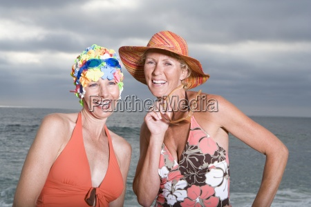 mature woman in swimming cap by