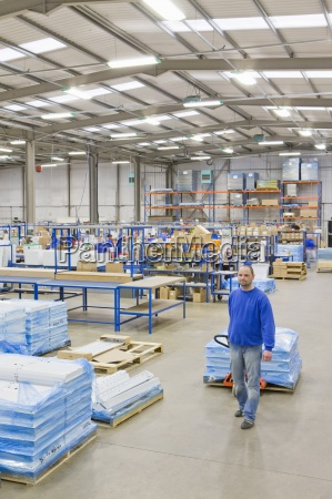 warehouse, worker, pulling, boxes, on, pallet - 12939988