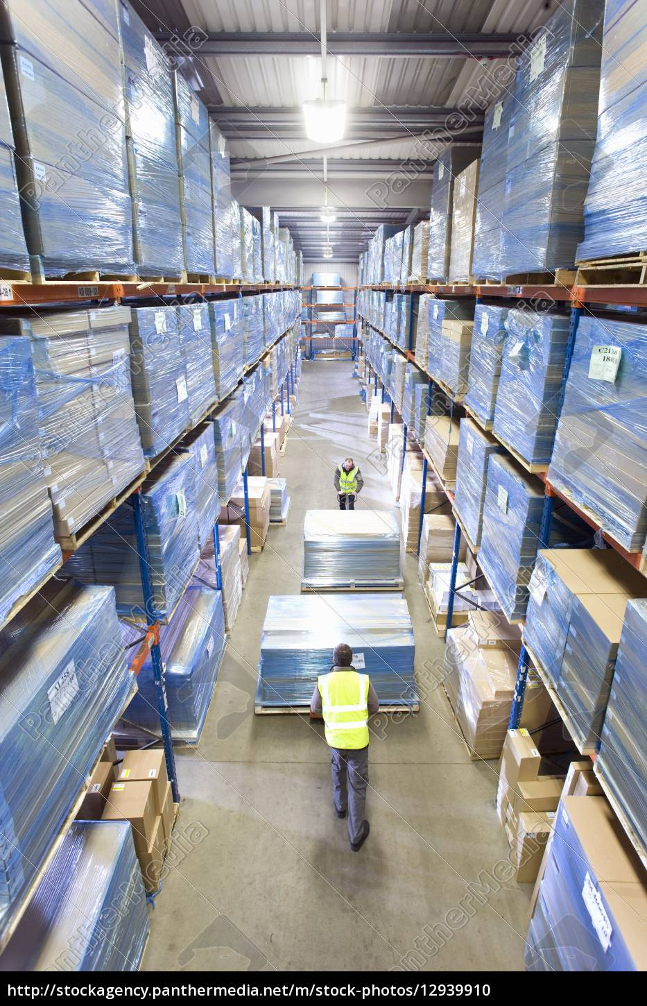 warehouse, workers, pushing, pallet, trucks, with - 12939910