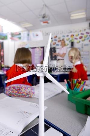 teacher explaining solar panels to school