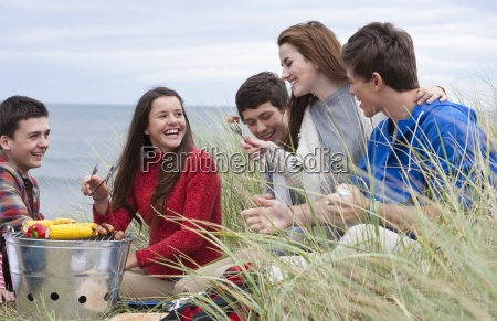 teenage friends enjoying barbecue in grass