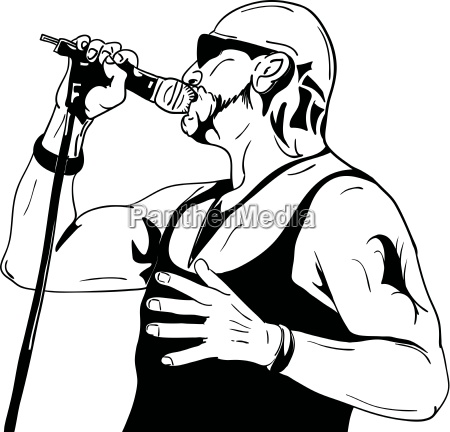 rock man with a microphone