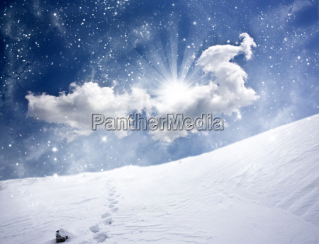 snowy path on the hill