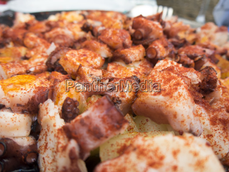 closeup galician octopus with paprika and