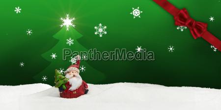 greeting card santa clause snow green