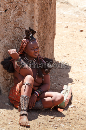 himba woman with ornaments on the