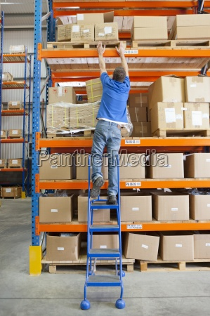 worker on ladder reaching for cardboard