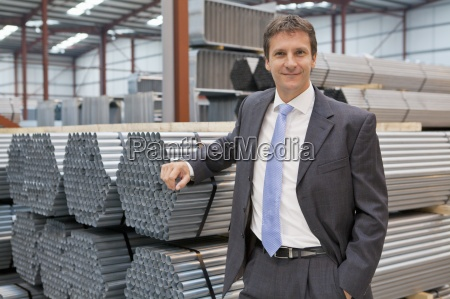 portrait of confident businessman leaning on