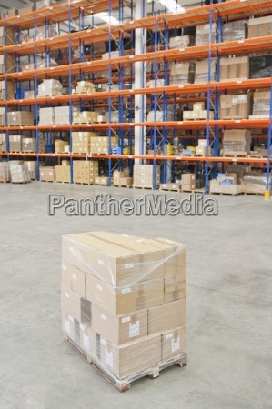 pallet, of, cardboard, boxes, wrapped, and - 12958720