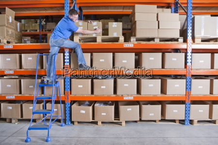 worker, standing, on, shelf, and, reaching - 12958716