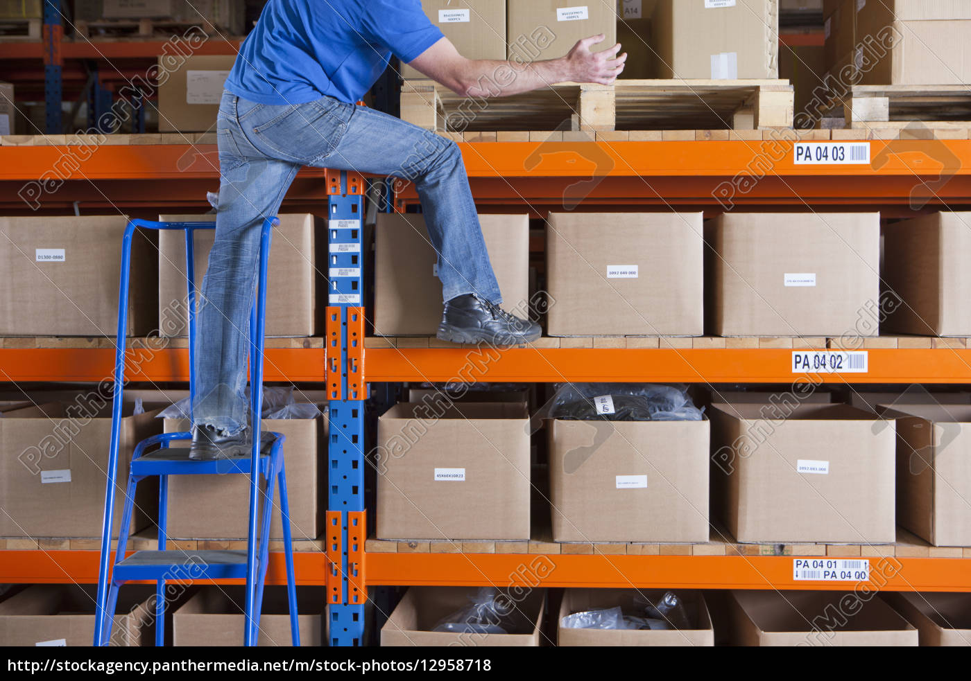 worker, standing, on, shelf, and, shifting - 12958718
