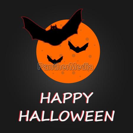 hallaween bat to moon poster vector