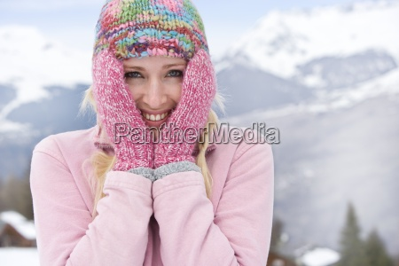 young woman wearing woolen hat in