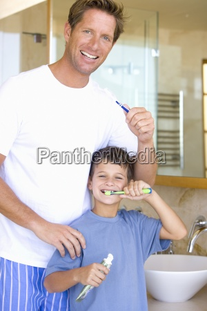 father and son 6 8 brushing