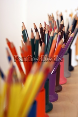 row of multi coloured colouring pencils