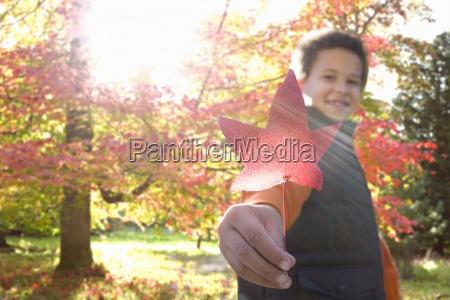 portrait of boy holding autumn leaf