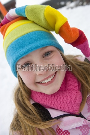 portrait of young girl in multi