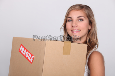 young woman with a cardboard