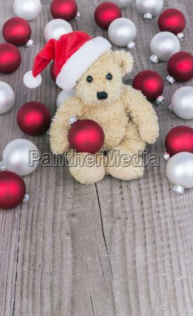 Teddy bear, white balls, Christmas Kogeln, Christmas, balls, christmas balls - 12976974