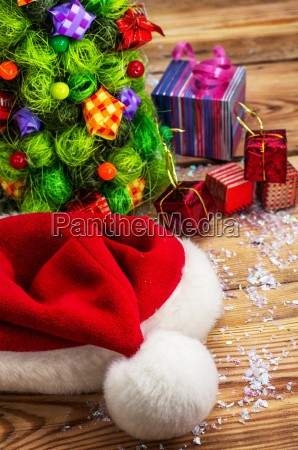 christmas cap on a background of