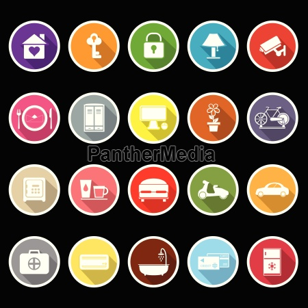 general home stay flat icons with
